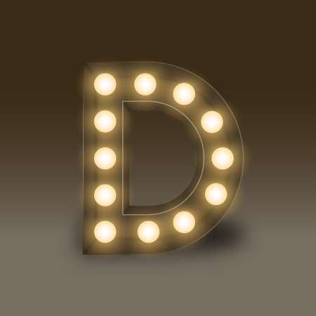 led display: Alphabet Incandescent light bulb box set letter D, illustration retro 3D style isolated glow in dark background