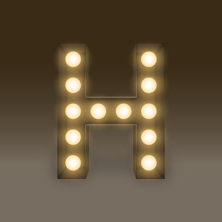 lamp light: Alphabet Incandescent light bulb box set letter H, illustration retro 3D style isolated glow in dark background