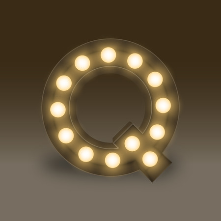 Alphabet Incandescent light bulb box set letter Q, illustration retro 3D style isolated glow in dark background