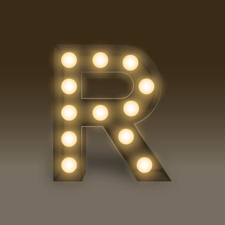 Alphabet Incandescent light bulb box set letter R, illustration retro 3D style isolated glow in dark background Illustration