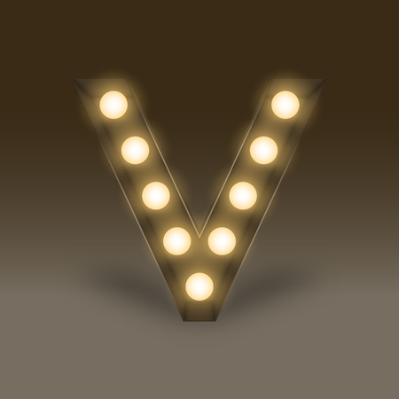 167 led strip light stock illustrations cliparts and royalty free alphabet incandescent light bulb box set letter v illustration retro 3d style isolated glow in mozeypictures Gallery