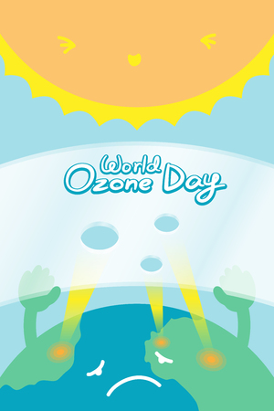 the greenhouse effect: World Ozone Day 16 September vertical Banner set, Global warming concept sad earth with hand hold ozone layer have hole and sun illustration isolated on blue background, with copy space