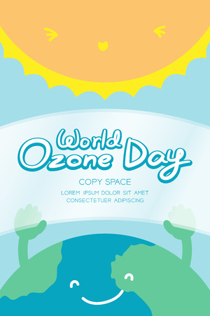 World Ozone Day 16 September vertical Banner set, Global warming concept smile earth with hand hold ozone layer and sun illustration isolated on blue background, with copy space