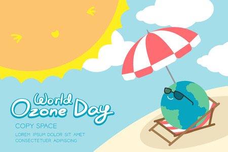 World Ozone Day 16 September horizon Banner set, Global warming concept smile earth with sunglasses, umbrella, chair, beach, sun, sky and cloud illustration isolated, with copy space Çizim