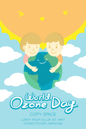 ozone layer: World Ozone Day 16 September vertical Banner set, Global warming concept kids hug protection smile earth, sun, sky and cloud illustration isolated on blue background, with copy space