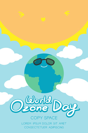 the greenhouse effect: World Ozone Day 16 September vertical Banner set, Global warming concept smile earth with sunglasses protection, sun, sky and cloud illustration isolated on blue background, with copy space
