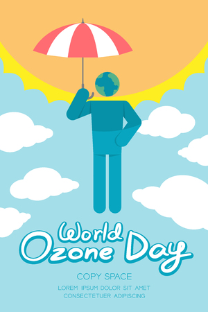ozone layer: World Ozone Day 16 September vertical Banner set, Global warming concept pictogram man icon earth with umbrella protection, sun, sky and cloud illustration isolated on blue background, with copy space
