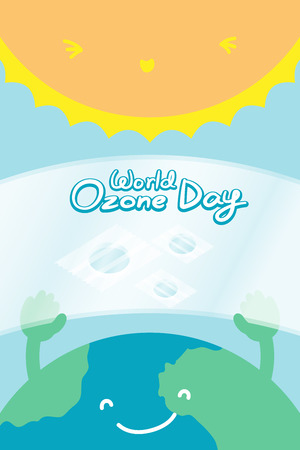 the greenhouse effect: World Ozone Day 16 September vertical Banner set, Global warming concept smile earth with hand hold ozone layer fix and sun illustration isolated on blue background, with copy space