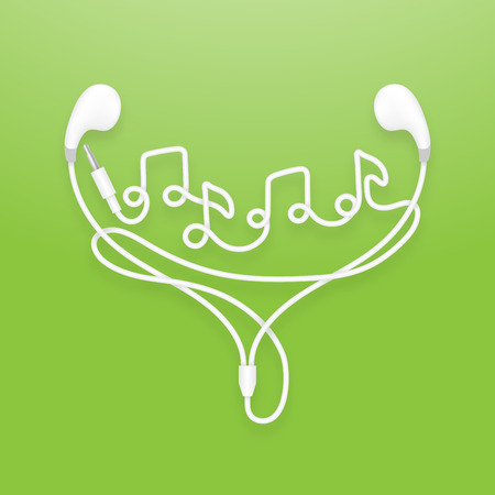 Earphones, Earbud type white color and music note symbol made from cable isolated on green gradient background, with copy space Illustration