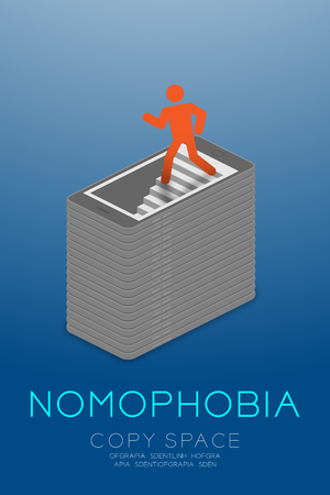 hole: Nomophobia syndrome smartphone addiction concept isometric flat design, pictogram man icon red color walking into smartphone illustration isolated on blue gradient background, with copy space