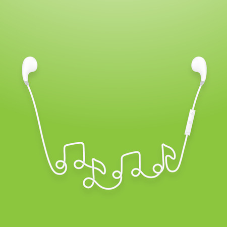 Earphones wireless and remote, earbud type white color and music note symbol made from cable isolated on green gradient background, with copy space Illustration