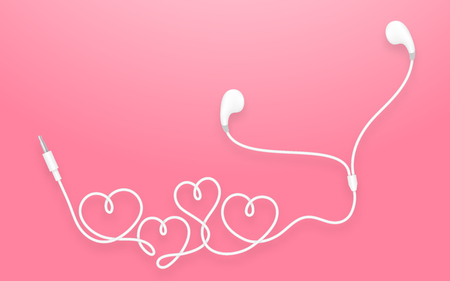 Earphones, Earbud type white color and heart symbol made from cable isolated on pink gradient background, with copy space Illustration