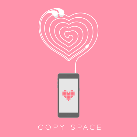 hardware: Smartphone black color flat design, heart icon symbol pink color on screen and heart icon symbol shape made from earphones cable illustration isolated on pink background, with copy space