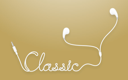 earphone: Earphones, Earbud type white color and classic text made from cable isolated on gold gradient background, with copy space Illustration