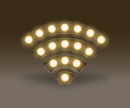 Symbol Incandescent light bulb box set Wifi sign, illustration retro 3D style isolated glow in dark background Vettoriali
