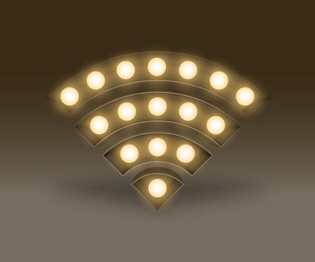 Symbol Incandescent light bulb box set Wifi sign, illustration retro 3D style isolated glow in dark background Stock Illustratie