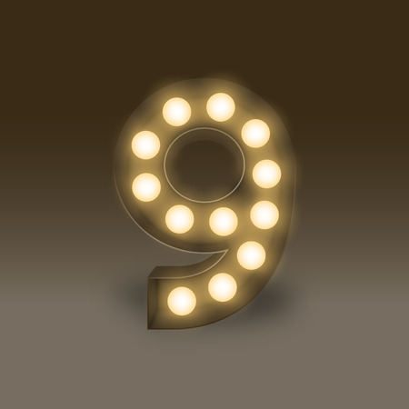 The letter number nine or 9, in the alphabet Incandescent light bulb box set, illustration retro 3D style isolated glow in dark background
