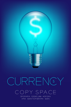 Alphabet Incandescent light bulb switch on set Currency USD (United States Dollars) symbol concept, illustration isolated glow in blue gradient background