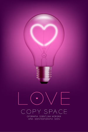 Alphabet Incandescent light bulb switch on set Love heart valentine concept, illustration isolated glow in pink gradient background