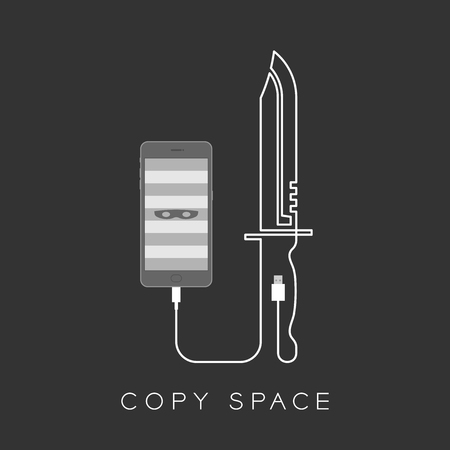 Smartphone with thief mask symbol on screen and knife shape made from usb data cable set internet cyber crime concept illustration isolated on dark background, with copy space