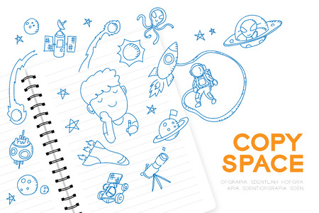 """Notebook with kid boy hand drawing set, Imagine of Future Occupation """"Astronaut"""" concept idea illustration isolated on white background, with copy space Vector Illustration"""