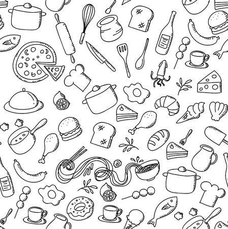 Seamless pattern background Food and ingredient kids hand drawing set illustration isolated on white background