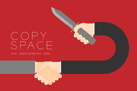 Handshake Businessman with knife set Business Partner Connection: Risk concept idea illustration isolated on red color background, with copy space