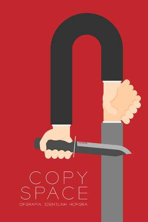 ナイフで握手ビジネスマンのビジネス パートナー接続設定: コンセプト アイデア図コピー スペースで、赤い色の背景上に孤立を危険にさらします。