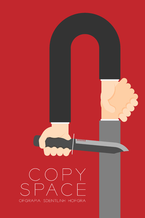 Handshake Businessman with knife set Business Partner Connection: Risk concept idea illustration isolated on red color background, with copy space.