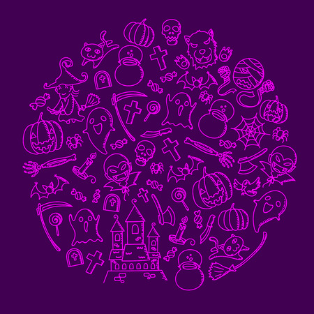 Halloween kids hand drawing set pattern background circle shape illustration isolated on purple color background