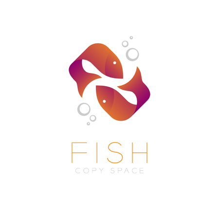 Two Fish or Pisces symbol icon and air bubble set orange violet gradient color design illustration isolated on white background with Fish text and copy space, vector eps10