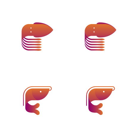 Shrimp and Squid symbol icon set orange violet gradient color design illustration isolated on white background, vector eps10