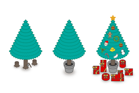 Step of chopping timber by axe make Christmas Tree concept idea illustration colorful isolated on white background, vector illustration Illustration