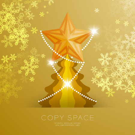 Golden Star with pattern and Christmas tree with snowflake bokeh light set illustration isolated on gold gradient background, with copy space