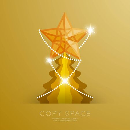 new: Golden Star with pattern and Christmas tree set illustration isolated on gold gradient background, with copy space