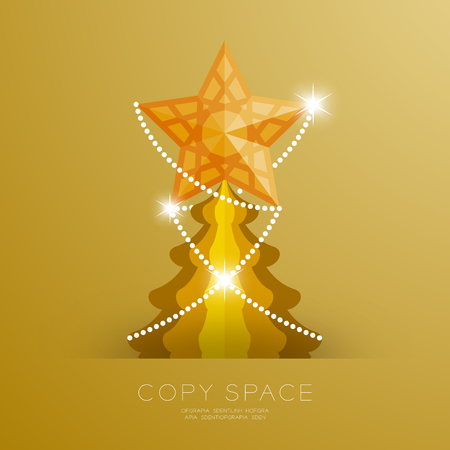 Golden Star with pattern and Christmas tree set illustration isolated on gold gradient background, with copy space