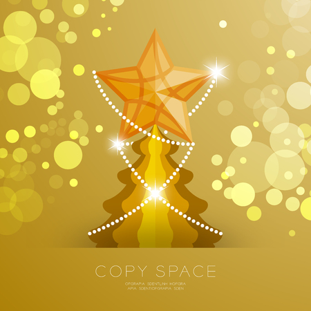 Golden Star with pattern and Christmas tree with bokeh light set illustration isolated on gold gradient background, with copy space