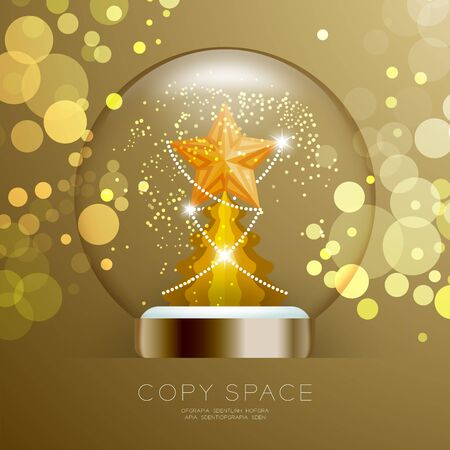 Souvenir Snowball Glass glitter inside have Golden Star with pattern and Christmas tree with bokeh light set illustration isolated on gold gradient background, with copy space