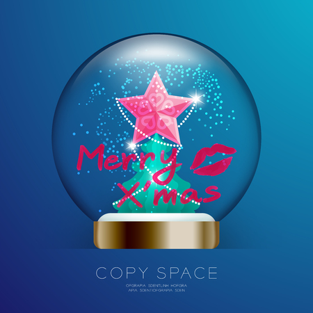 Souvenir Christmas Snowball Glass glitter with pink star, merry xmas text write by lipstick and kisses set illustration isolated on blue gradient background, with copy space Illustration