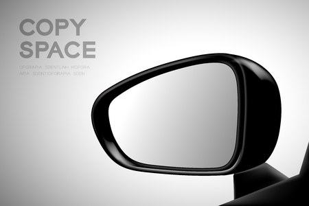 Mock-up wing mirror car view from inside.  illustration black color on gradient background. Illustration