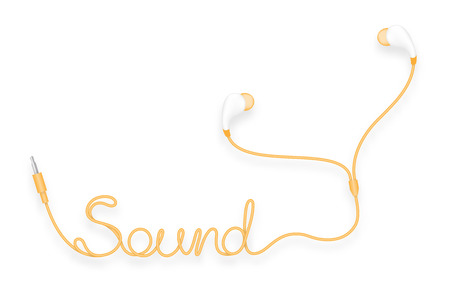 Earphones, In Ear type yellow orange color and Sound text made from cable isolated on white background, with copy space