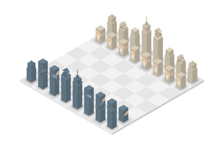 Business chess cube isometric 3d design set, Start Game concept idea illustration isolated on white background