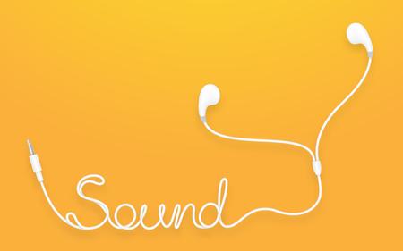 Écouteurs, couleur blanche type Earbud et texte sonore fabriqué à partir de câble isolé sur fond dégradé orange jaune, avec espace copie
