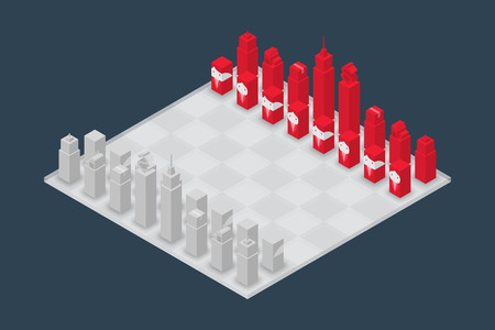 Business chess cube isometric 3d design set, Start Game concept idea illustration isolated on dark blue background