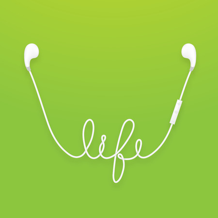 Earphones wireless and remote, earbud type white color and life text made from cable isolated on green gradient background, with copy space