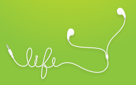Earphones, Earbud type white color and life text made from cable isolated on green gradient background, with copy space Illustration