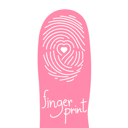 Fingerprint scan on finger silhouette set with map pointer symbol concept idea on white background. Fingerprint text with copy space.