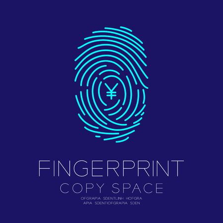 Fingerprint scan set with Currency JPY (Japanese Yen) symbol concept idea illustration isolated on dark blue background, and Fingerprint text with copy space