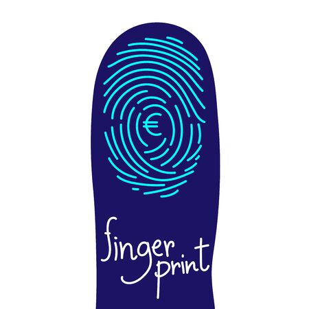 Fingerprint scan on finger silhouette set with Currency EUR (European Euro) symbol concept idea illustration isolated on white background, and Fingerprint text with copy space