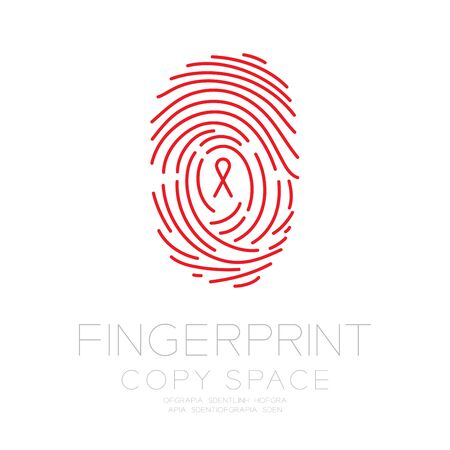 Fingerprint scan set with Red Ribbon symbol, AIDS awareness concept idea illustration isolated on white background, and Fingerprint text with copy space